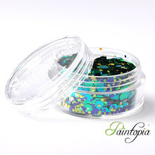 Peacock Superstar Chunky Glitter is a green, purple, blue chunky glitter mix presented in a 8ml clear plastic screw lid pot