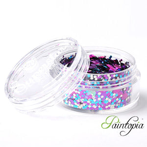 Festival Superstar Chunky Glitter is a blue, purple, pink chunky glitter mix presented in a 8ml clear plastic screw lid pot