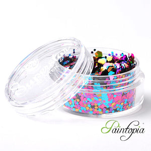 Carnival Superstar Chunky Glitter is a gold, blue, pink chunky glitter mix presented in a 8ml clear plastic screw lid pot