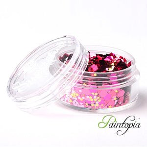 Pink Lady Superstar Chunky Glitter is a pink and gold chunky glitter mix presented in a 8ml clear plastic screw lid pot