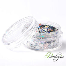 Laser Silver Superstar Chunky Glitter is a silver chunky glitter mix presented in a 8ml clear plastic screw lid pot