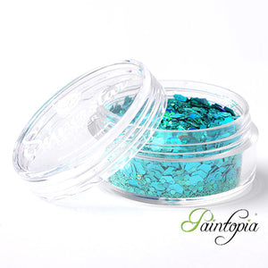 Laser Turqouise Superstar Chunky Glitter is a light blue chunky glitter mix presented in a 8ml clear plastic screw lid pot