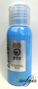 50ml bottle of light blue airbrush facepaint and bodypaint produced by Cameleon
