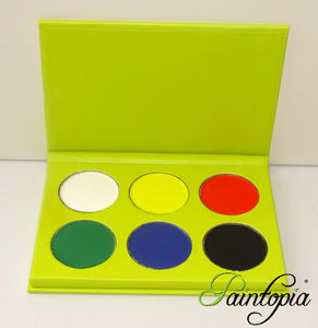 Cameleon eyeshadow palette containing six base colours in white, black, red, yellow, green and blue.