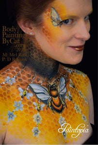 Bodypaint design using the bee and honeycomb Cut by Cat stencil