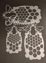 Bee and honeycomb design Cut by Cat stencil in small, medium and large