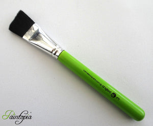 "1"" synthetic angle brush for face painting, black fibres, short green handle, vegan, cruelty free"