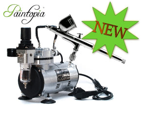 Airbrush compressor in silver with a dual action 0.3mm airbrush gun suitable for face painting and body painting