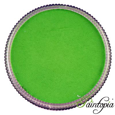 Cameleon face paint. Absinthe is a vibrant bright green face paint presented in a round clear plastic container with a screw top lid.