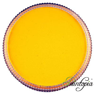 Cameleon face paint. Banana Yellow is a vibrant bright yellow face paint presented in a round clear plastic container with a screw top lid.