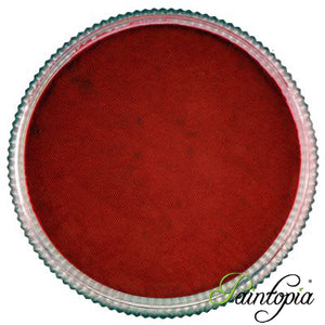 Cameleon face paint. Blood Red is a deep shade of red face paint presented in a round clear plastic container with a screw top lid.