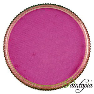 Cameleon face paint. Bollywood Pink is a vibrant deep pink face paint presented in a round clear plastic container with a screw top lid.