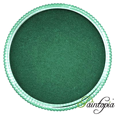 Cameleon face paint. Camouflage is a vibrant, mossy green face paint presented in a round clear plastic container with a screw top lid.