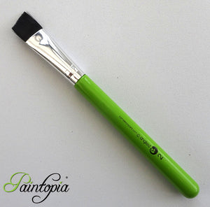 "3/4"" synthetic angle brush for face painting, black fibres, short green handle, vegan, cruelty free"