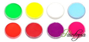 Full set of Cameleon UV facepaint in round plastic containers. 32g in size. Colours are Pink Flamingo, Toxic Yellow, Foxy Orange, Kryptonite Green, Starlight White, Electric Purple, In Love Red, Tinctorious Blue