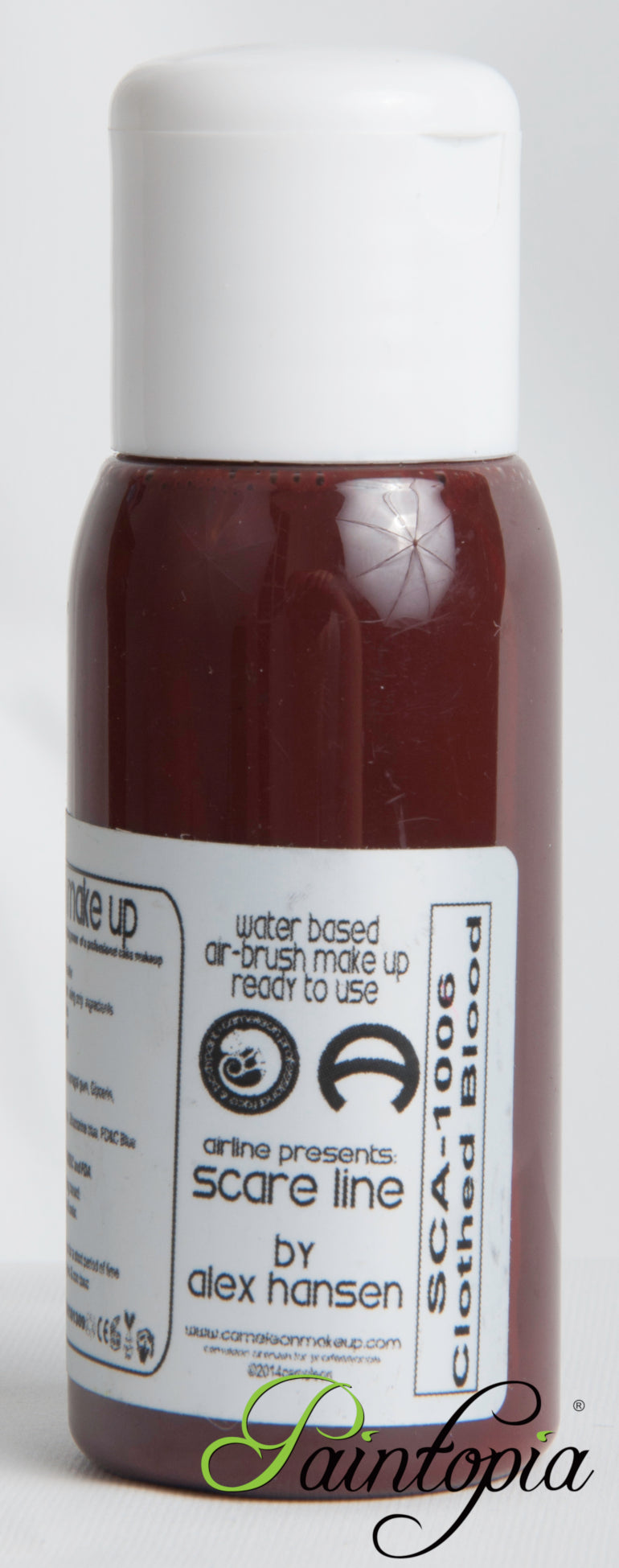 Cameleon airbrush paint in shade Clotted Blood. Produced in a 50ml plastic bottle.