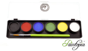 Small Cameleon palette containing 6 x 8g paints in white, black, red, yellow, green and blue