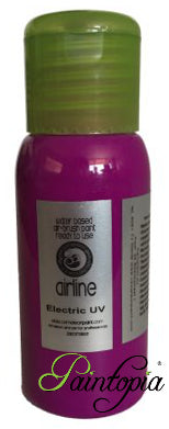 Electric Purple UV is a bright, vibrant purple shade of Cameleon airbrush paint, water based, 50ml, flip cap opening