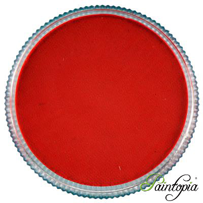 Round pot of Fire Red Facepaint by Cameleon. A rich and vibrant red facepaint.