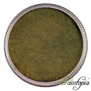 A round pot containing a shimmery green metallic water based face paint produced by Cameleon called Fleur de Lise