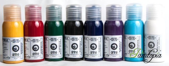 Set of Cameleon Airbrush paints, 8 50ml bottles, colours include White, black, red, yellow, green, dark blue, light blue and purple