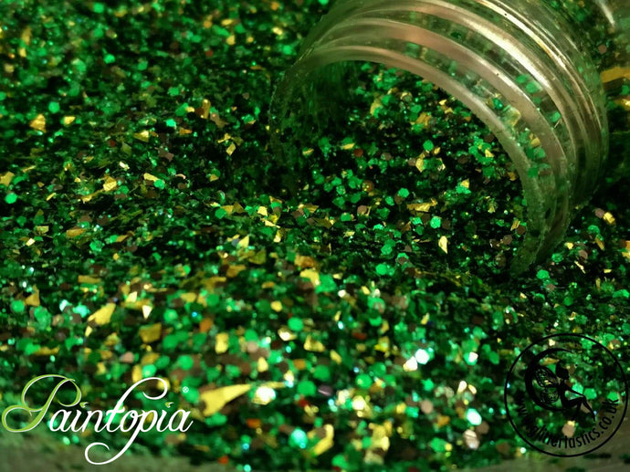 Frankenstein Glittertastics Glitter, biodegradable, green and gold cosmetic grade suitable for face paint, body paint and make up