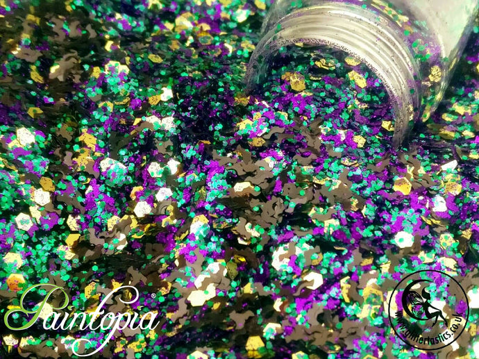 I put a spell on you Glittertastics Glitter, gold, green and purple cosmetic grade suitable for face paint, body paint and make up