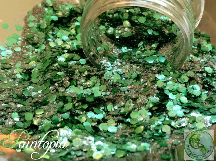 Peppermint green Glittertastics Glitter, biodegradable, green and silver cosmetic grade suitable for face paint, body paint and make up