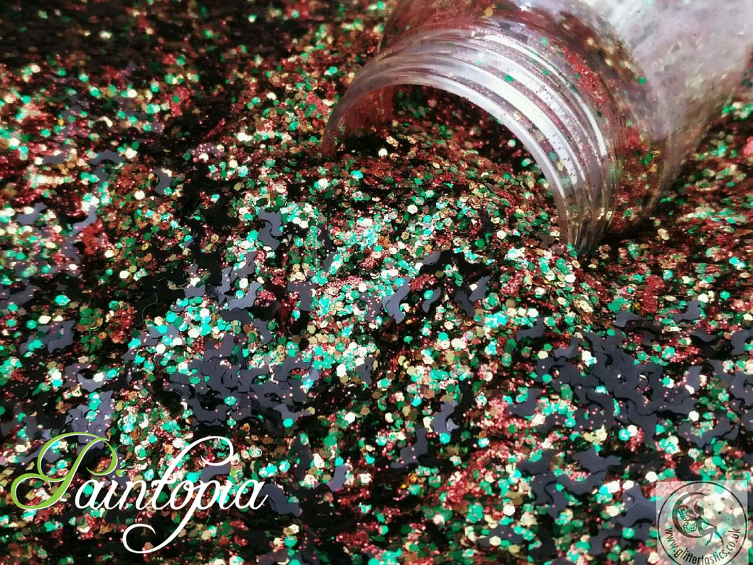 Pumpkin Pie Glittertastics Glitter, orange and green cosmetic grade suitable for face paint, body paint and make up
