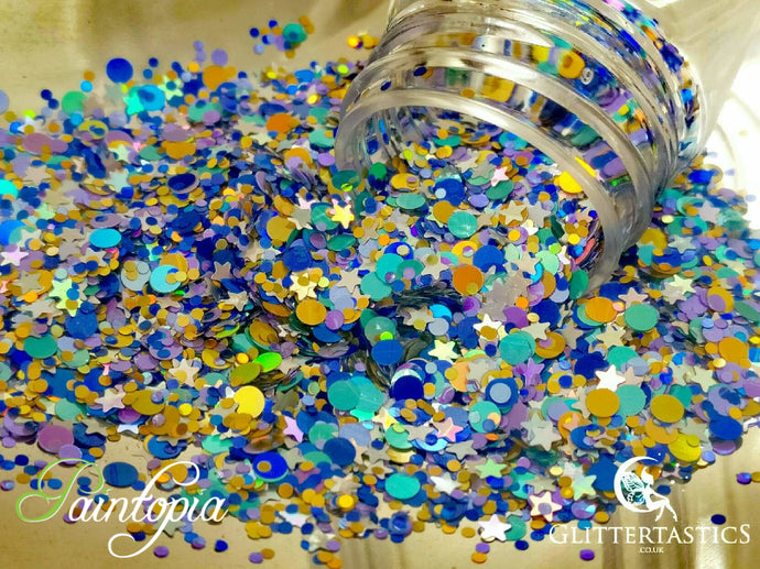 Starry Night Glittertastics Glitter, multi coloured cosmetic grade suitable for face paint, body paint and make up