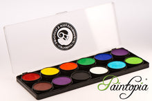 Cameleon facepainting palette containing twelve ten gram paints of assorted popular colours