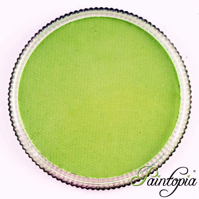Round pot of Mimi's Green Facepaint by Cameleon. A rich and vibrant green facepaint.