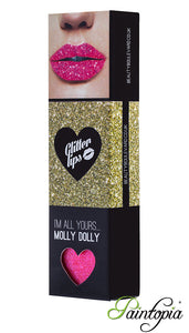 Molly Dolly is a bright pink shade of glitter lip in a small box with a glitter bond and applicator
