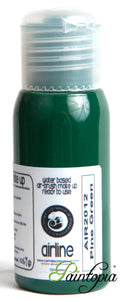 50ml bottle of green airbrush facepaint and bodypaint produced by Cameleon