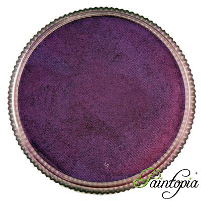 A round pot containing a dark purple metallic face paint called Purple Heart