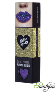 Purple Reign is a purple shade of glitter lip in a small box with a glitter bond and applicator