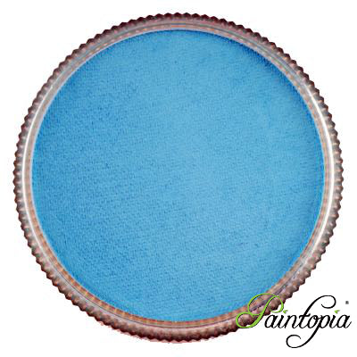 Round pot of Robin Egg face paint by Cameleon. A rich and vibrant blue facepaint.