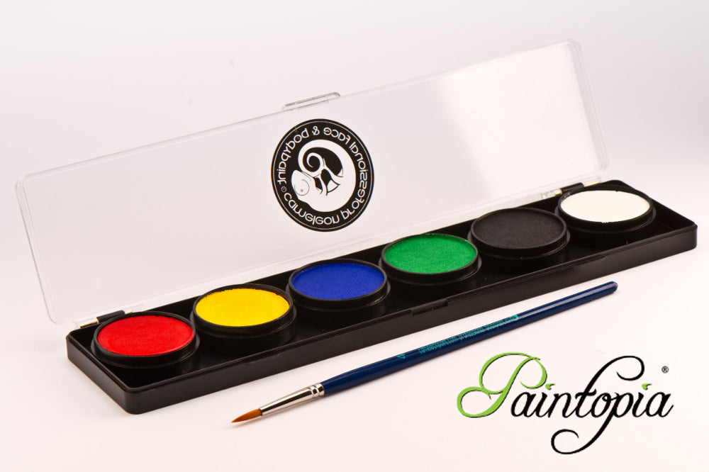 Cameleon palette containing 6 x 10g facepaints in white, black, red, yellow, green and blue