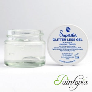 Superstar clear glitter gel comes in a round glass container 15ml