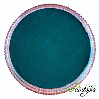 Round pot of Teal face paint by Cameleon. A rich and vibrant blue/green facepaint.