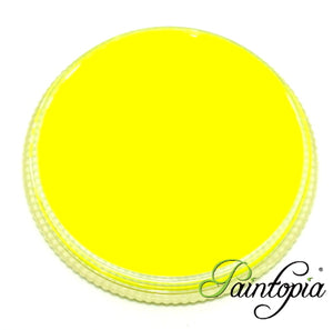 Cameleon Toxic Yellow UV facepaint in a round plastic container. 32g in size