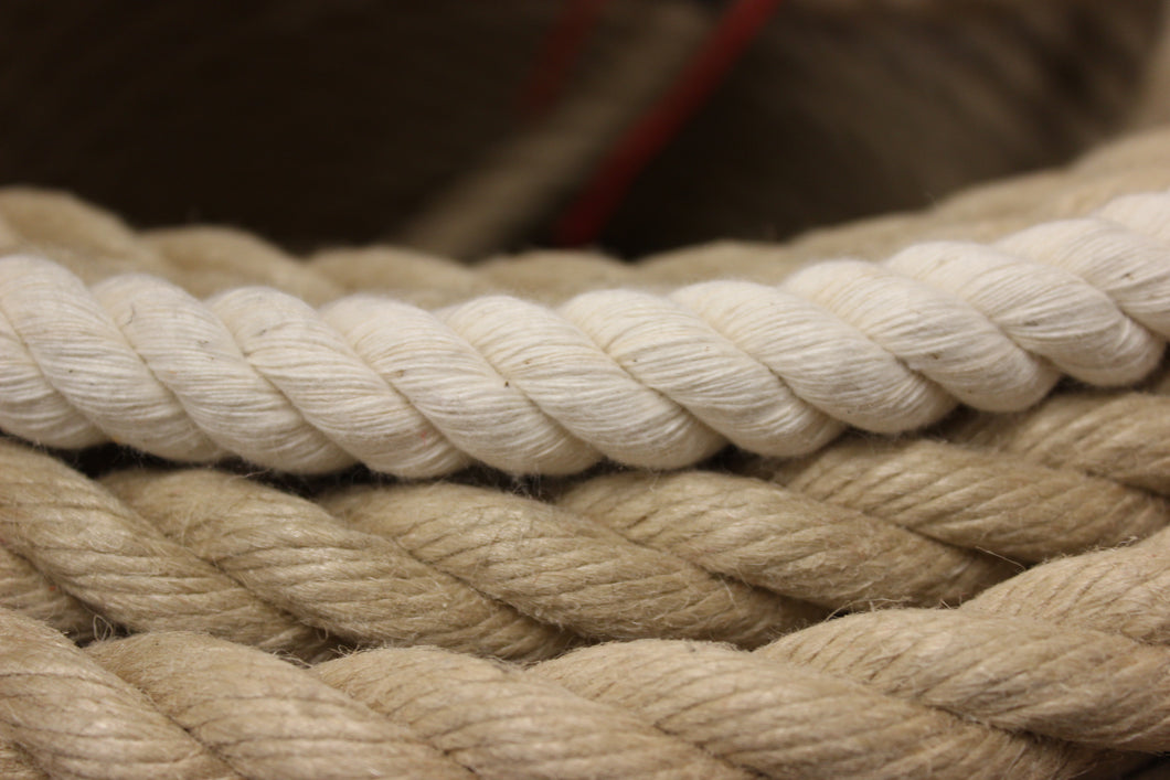 30mm cotton rope, natural rope, hand laid in the UK, rope hand rail, rope barriers