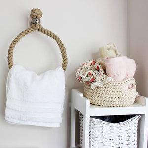 Our rope hand-towel holders made from Flax rope suitable for chrome, brass, copper, satin nickel, gun metal bathroom