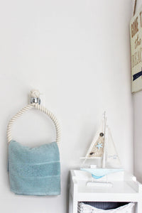 Our rope hand-towel holders made from cotton rope suitable for chrome, brass, copper, satin nickel, gun metal bathroom