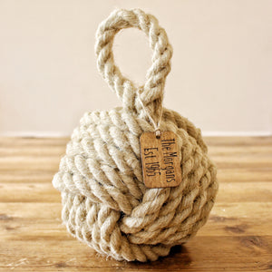 Personalised tag to compliment our natural fibre doorstops, hand laid natural fibre rope, crafted in the UK, inspired by nautical, coastal and country cottage designs