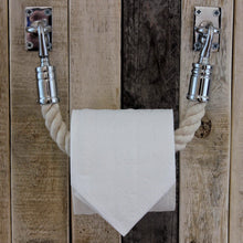 chrome bathroom fittings, chrome toilet roll holder, rope toilet roll holder, nautical bathroom, rustic bathroom, country bathroom, coastal bathroom