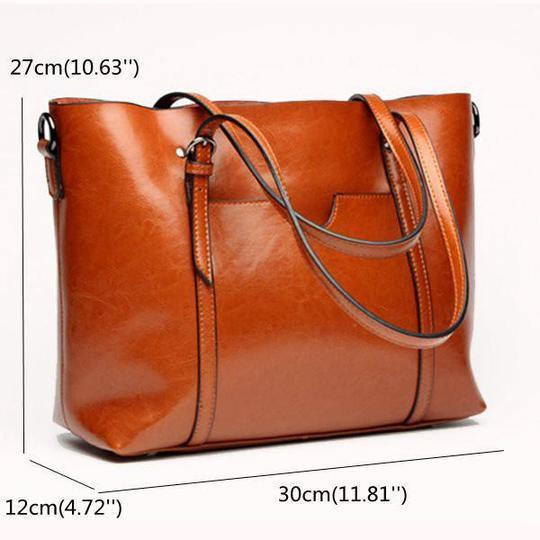 Women Oil Leather Tote Handbags Casual Front Pockets Crossbody Bags Shoulder Bags - COUNTSTOREONLINE