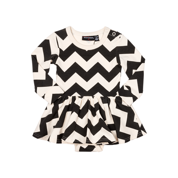GIRLS ZIG ZAG WAISTED DRESS | BLACK AND WHITE | ROCK YOUR KID | MELLIE & ME - Mellie & Me