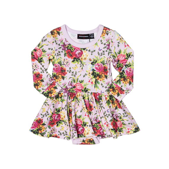 BOUQUETS LONG SLEEVE WAISTED DRESS | PINK | ROCK YOUR BABY | MELLIE & ME - Mellie & Me