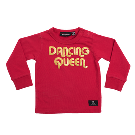 DANCING QUEEN - LONG SLEEVE T-SHIRT - RED - Mellie & Me